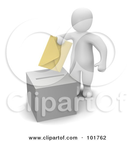 Royalty-Free (RF) Clipart Illustration of a 3d blanco man putting a voting envelope in a ballot box by Jiri Moucka