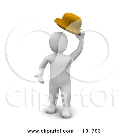 Royalty-Free (RF) Clipart Illustration of a 3d Blanco Man Lifting His Hat by Jiri Moucka