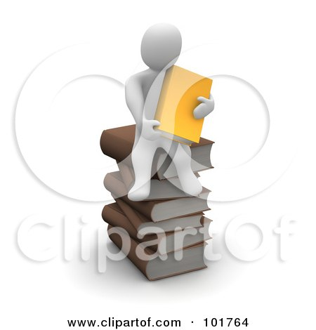 Royalty-Free (RF) Clipart Illustration of a 3d Blanco Man Holding An Orange Book And Sitting On A Pile Of Books by Jiri Moucka
