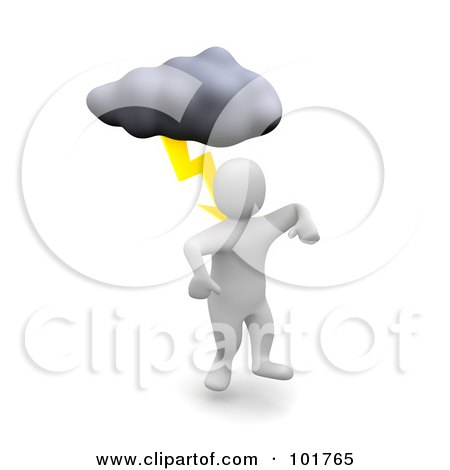 Royalty-Free (RF) Clipart Illustration of a 3d Blanco Man Being Struck With Lightning by Jiri Moucka
