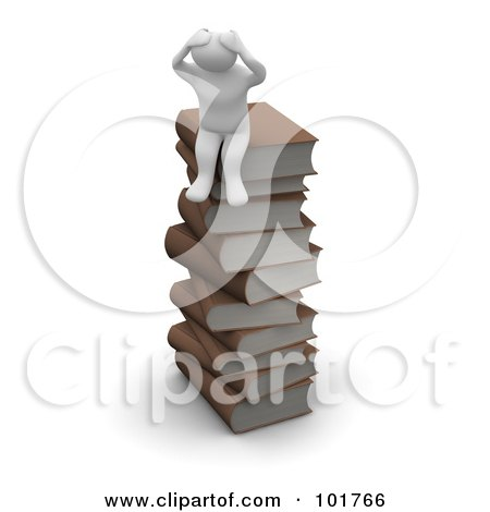 Royalty-Free (RF) Clipart Illustration of a 3d Blanco Man Sitting On A Stack Of Books by Jiri Moucka