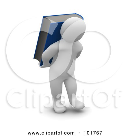 Royalty-Free (RF) Clipart Illustration of a 3d Blanco Man Carrying A Book On His Back by Jiri Moucka