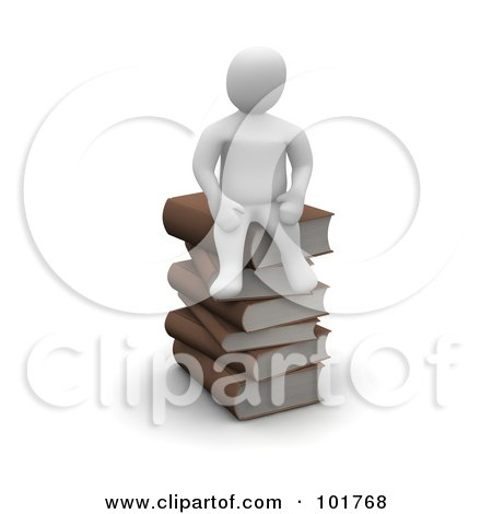 Royalty-Free (RF) Clipart Illustration of a 3d Blanco Man Sitting On A Pile Of Books by Jiri Moucka