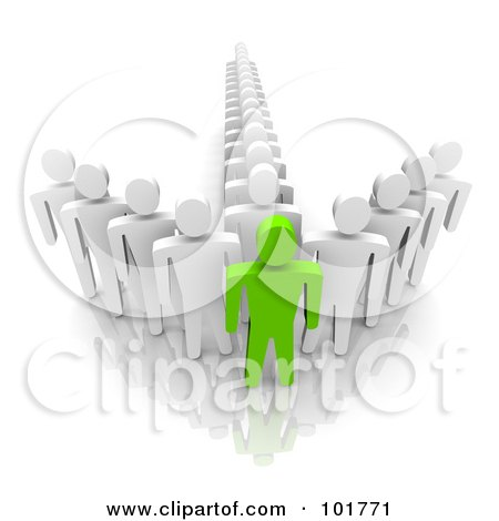 Royalty-Free (RF) Clipart Illustration of a 3d Green Man At The Front Of An Arrow Of Followers by Jiri Moucka