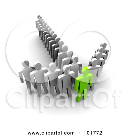 Royalty-Free (RF) Clipart Illustration of a 3d Green Man In The Front Of An Arrow Of Followers by Jiri Moucka