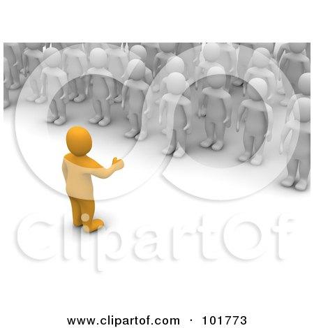 Royalty-Free (RF) Clipart Illustration of a 3d Anaranjado Man Speaking To A Crowd Of Blanco Men by Jiri Moucka