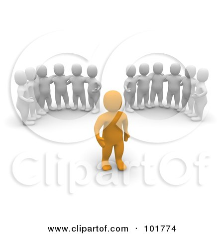 Royalty-Free (RF) Clipart Illustration of Two Groups Of 3d Blanco Men Watching An Anaranjado Man by Jiri Moucka