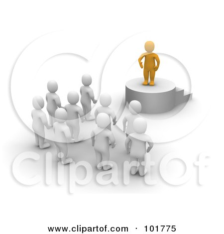 Royalty-Free (RF) Clipart Illustration of a 3d Anaranjado Man Standing On A Podium And Speaking To Blanco Men by Jiri Moucka