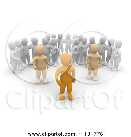 Royalty-Free (RF) Clipart Illustration of Three Groups Of 3d Blanco Men Watching Anaranjado Men by Jiri Moucka