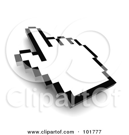 Royalty-Free (RF) Clipart Illustration of a 3d Black Outlined Hand Cursor Pointing by Jiri Moucka