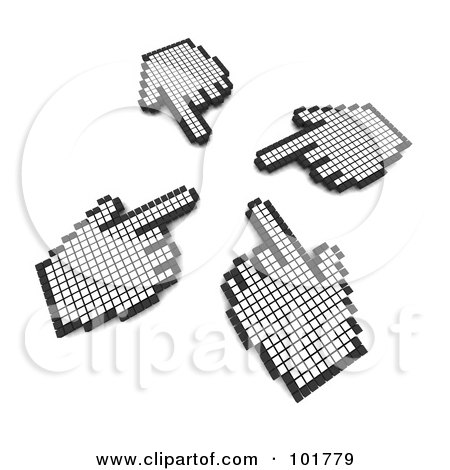 Royalty-Free (RF) Clipart Illustration of Four Hand Cursors Pointing At The Same Spot by Jiri Moucka