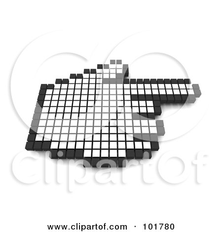 Royalty-Free (RF) Clipart Illustration of a 3d Black And White Pixel Hand Cursor Pointing by Jiri Moucka