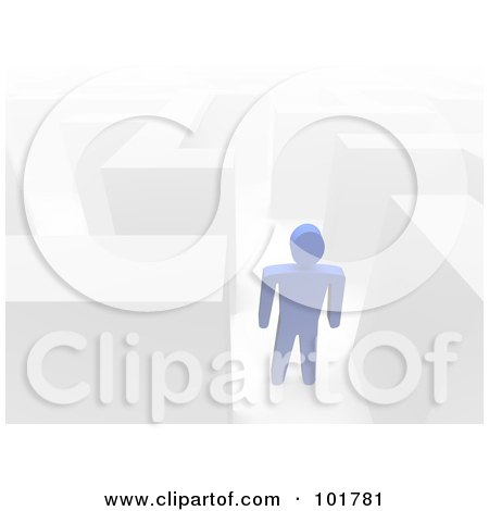 Royalty-Free (RF) Clipart Illustration of a 3d Azul Guy In A Maze by Jiri Moucka