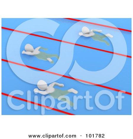 Royalty-Free (RF) Clipart Illustration of 3d Blanco Men Swimming In Pool Lanes by Jiri Moucka