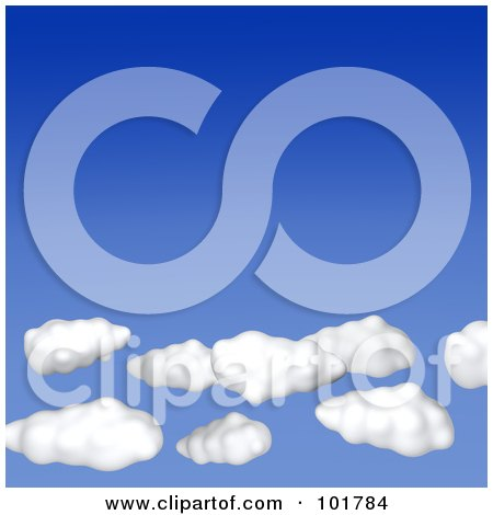 Royalty-Free (RF) Clipart Illustration of 3d Puffy White Clouds In A Gradient Blue Sky by Jiri Moucka