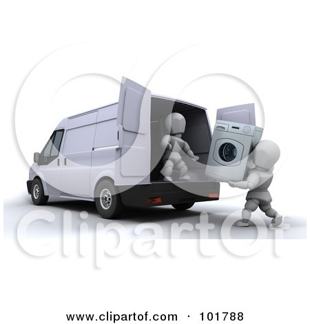 Royalty-Free (RF) Clipart Illustration of 3d White Characters Loading A Washing Machine In A Moving Van by KJ Pargeter