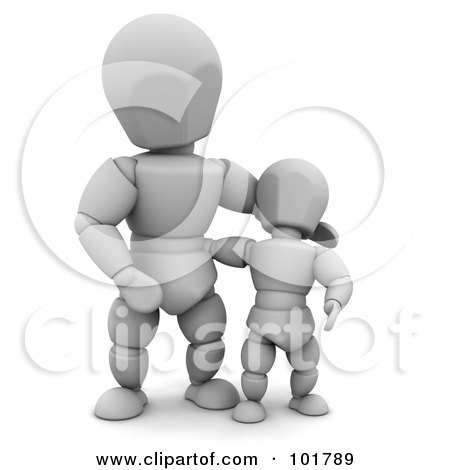 Royalty-Free (RF) Clipart Illustration of a 3d White Character Dad With His Son by KJ Pargeter
