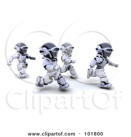 Royalty-Free (RF) Clipart Illustration of a Group Of 3d Silver Robots Jogging by KJ Pargeter