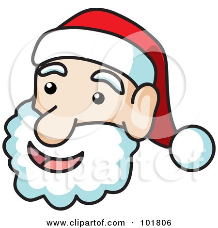Royalty-Free (RF) Clipart Illustration of a Jolly Santa Face With Black Outlines by Rosie Piter