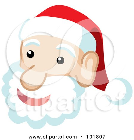 Royalty-Free (RF) Clipart Illustration of a Jolly Santa Face And Fluffy Beard by Rosie Piter