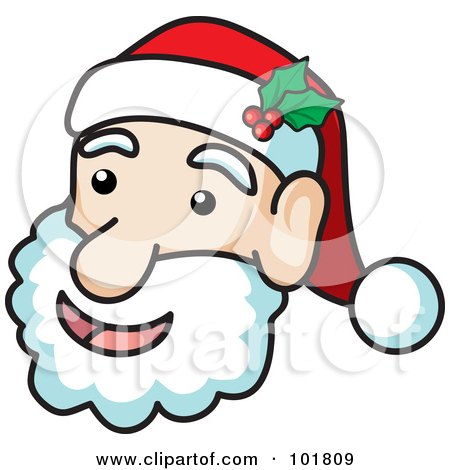 Royalty-Free (RF) Clipart Illustration of a Jolly Santa Face With Holly on His Hat by Rosie Piter
