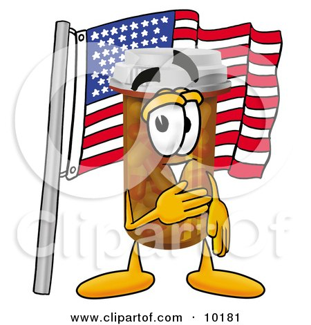 Clipart Picture of a Pill Bottle Mascot Cartoon Character Pledging Allegiance to an American Flag by Toons4Biz