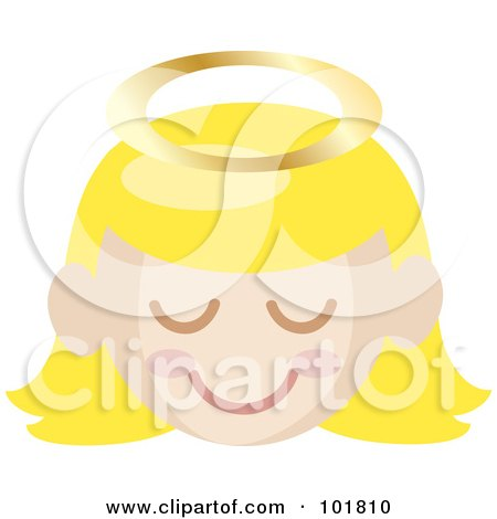 Royalty-Free (RF) Clipart Illustration of a Blond Angel Girl With A Halo And Pink Cheeks by Rosie Piter