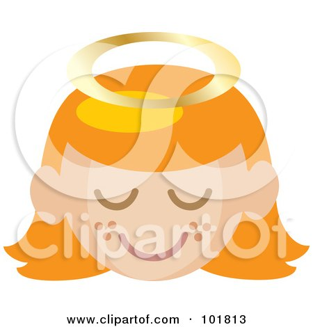 Royalty-Free (RF) Clipart Illustration of a Red Haired Angel Girl With A Halo And Freckled Cheeks by Rosie Piter