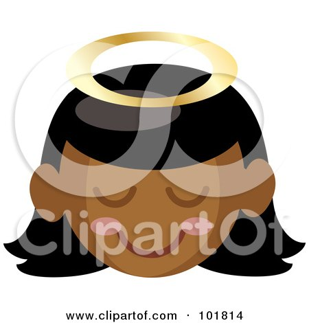 Royalty-Free (RF) Clipart Illustration of a Black Angel Girl With A Halo And Pink Cheeks by Rosie Piter