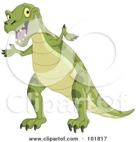 Royalty-Free (RF) Clipart Illustration of a Green Tyrannosaurus Rex Shrugging by yayayoyo
