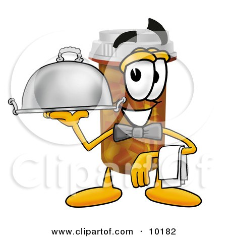 Clipart Picture of a Pill Bottle Mascot Cartoon Character Dressed as a Waiter and Holding a Serving Platter by Toons4Biz
