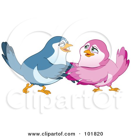 Happy Blue And Pink Bird Couple Embracing Posters, Art Prints
