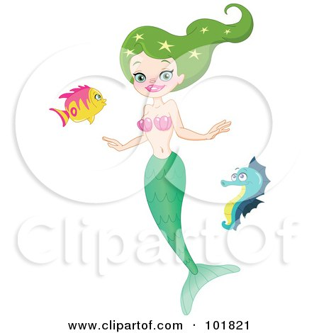 Green Haired Mermaid Swimming With A Seahorse And Fish Posters, Art Prints