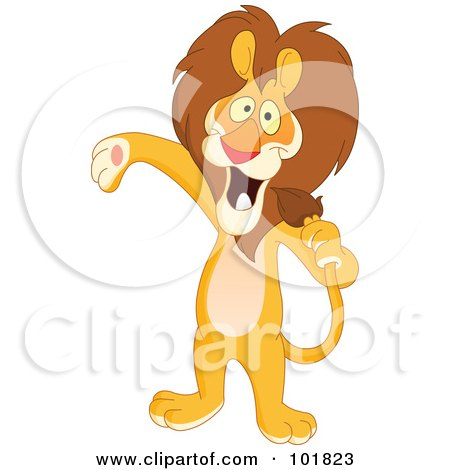 Royalty-Free (RF) Clipart Illustration of a Host Or Singer Lion Using His Tail Like A Microphone by yayayoyo