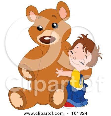 Royalty-Free (RF) Clipart Illustration of a Sweet Boy Hugging His Giant Teddy Bear by yayayoyo