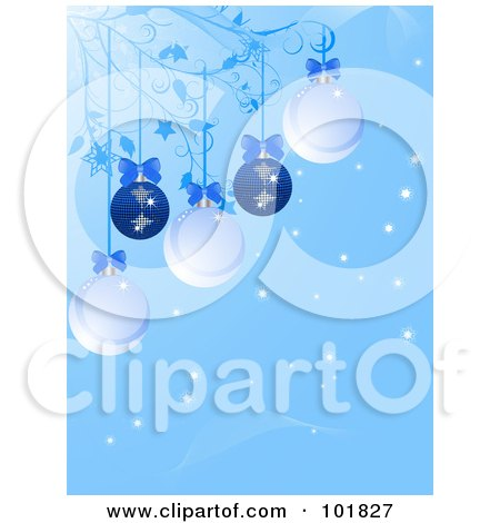 Royalty-Free (RF) Clipart Illustration of a Blue Christmas Bauble Background With Ornaments And Bows Hanging From Vines by elaineitalia