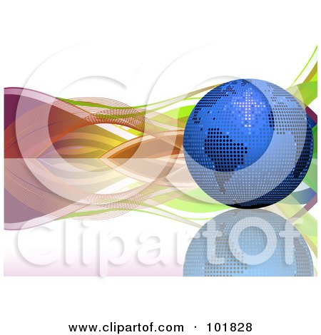 Royalty-Free (RF) Clipart Illustration of a Blue Mosaic Disco Ball Globe On A Reflective Surface, With Colorful Waves by elaineitalia