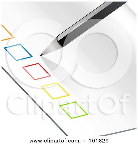 Royalty-Free (RF) Clipart Illustration of a Pencil Beside A Row Of Colorful Check Boxes On A Piece Of Paper by elaineitalia