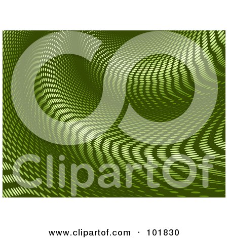 Royalty-Free (RF) Clipart Illustration of a Green Halftone Warp Tunnel Background by elaineitalia