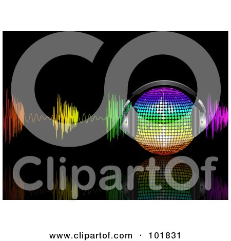 Royalty-Free (RF) Clipart Illustration of a Rainbow Music Disco Ball With Headphones And Colorful Waves On Black by elaineitalia