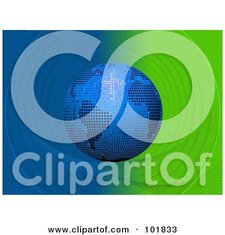 Royalty-Free (RF) Clipart Illustration of a Blue Mosaic Disco Ball Globe Over A Green And Blue Swirl Background by elaineitalia