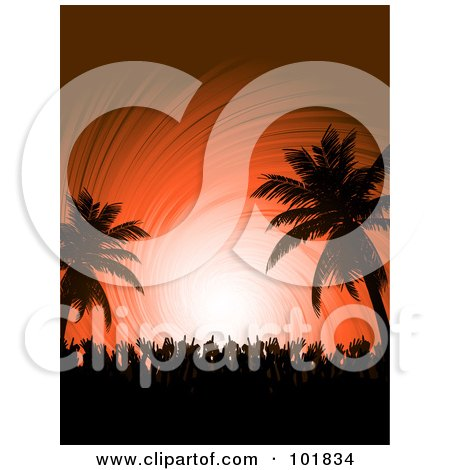 Royalty-Free (RF) Clipart Illustration of a Silhouetted Crowd Dancing With Their Hands In The Air On A Tropical Beach Party, Over An Orange Swirl by elaineitalia