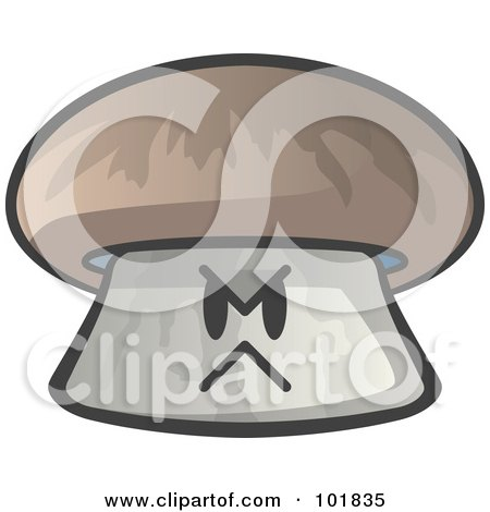 Royalty-Free (RF) Clipart Illustration of an Angry Mushroom Face by Leo Blanchette