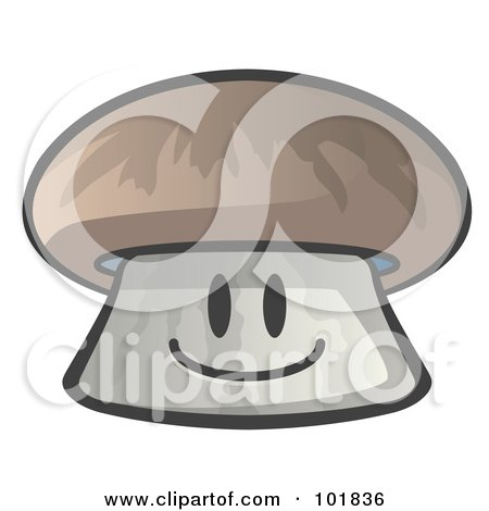 Royalty-Free (RF) Clipart Illustration of a Happy Mushroom Face Smiling by Leo Blanchette