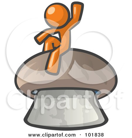 Royalty-Free (RF) Clipart Illustration of an Orange Man Design Mascot Waving And Sitting On A Mushroom by Leo Blanchette