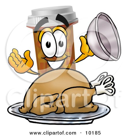 Clipart Picture of a Pill Bottle Mascot Cartoon Character Serving a Thanksgiving Turkey on a Platter by Toons4Biz