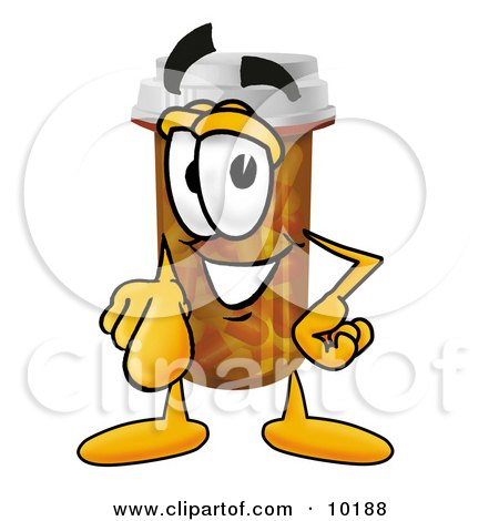 Clipart Picture of a Pill Bottle Mascot Cartoon Character Pointing at the Viewer by Toons4Biz