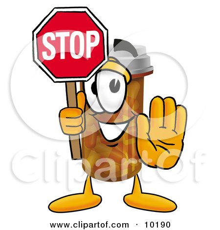 Clipart Picture of a Pill Bottle Mascot Cartoon Character Holding a Stop Sign by Toons4Biz