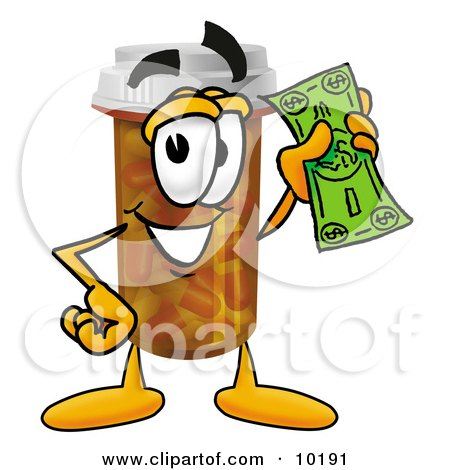 Clipart Picture of a Pill Bottle Mascot Cartoon Character Holding a Dollar Bill by Toons4Biz