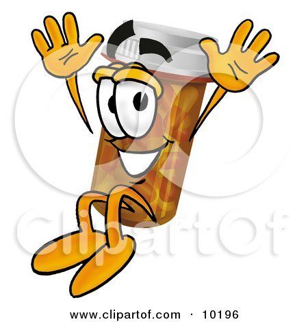 Clipart Picture of a Pill Bottle Mascot Cartoon Character Jumping by Toons4Biz